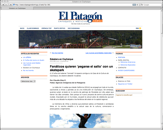 noticiapatagon Coyhaique proclama SU skatepark. articulos  foto photo